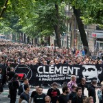 Thousands protest the killing of an anti-fascism activist by skinheads