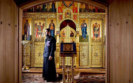 The inside of the holy Trinity church (Natacha Pisarenko/AP)