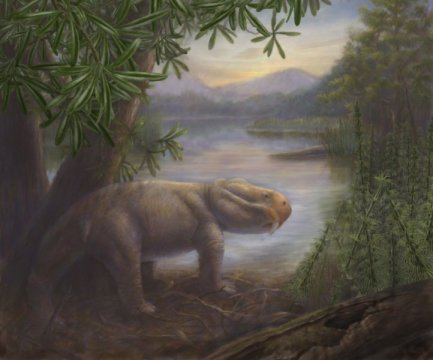 A Late Permian scene features one of that period's famed extinction survivors, Lystrosaurus. Scene by Marlene Hill Donnelly. Credit: Copyright California Academy of Sciences and Marlene Hill Donnelly
