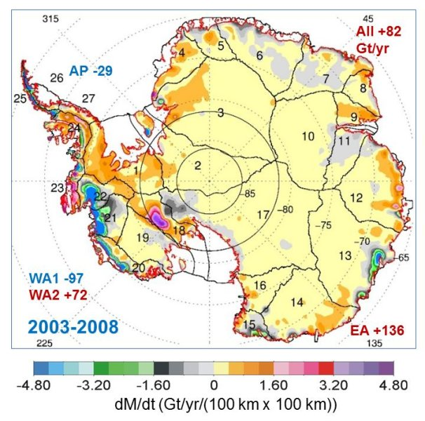 This map shows the rates of mass changes from ICESat 2003-2008 over Antarctica. Sums are for all of Antarctica: East Antarctica (EA, 2-17); interior West Antarctica (WA2, 1, 18, 19, and 23); coastal West Antarctica (WA1, 20-21); and the Antarctic Peninsula (24-27). A gigaton (Gt) corresponds to a billion metric tons, or 1.1 billion U.S. tons. Credit: Jay Zwally/ Journal of Glaciology