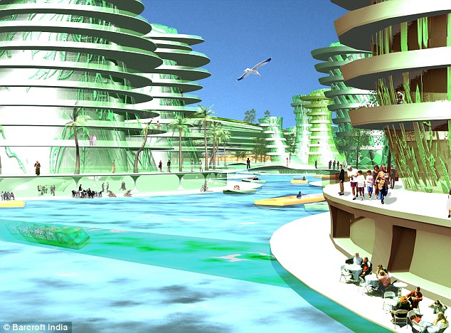 Designers plan to model the island on the waterways of Venice, Italy.
