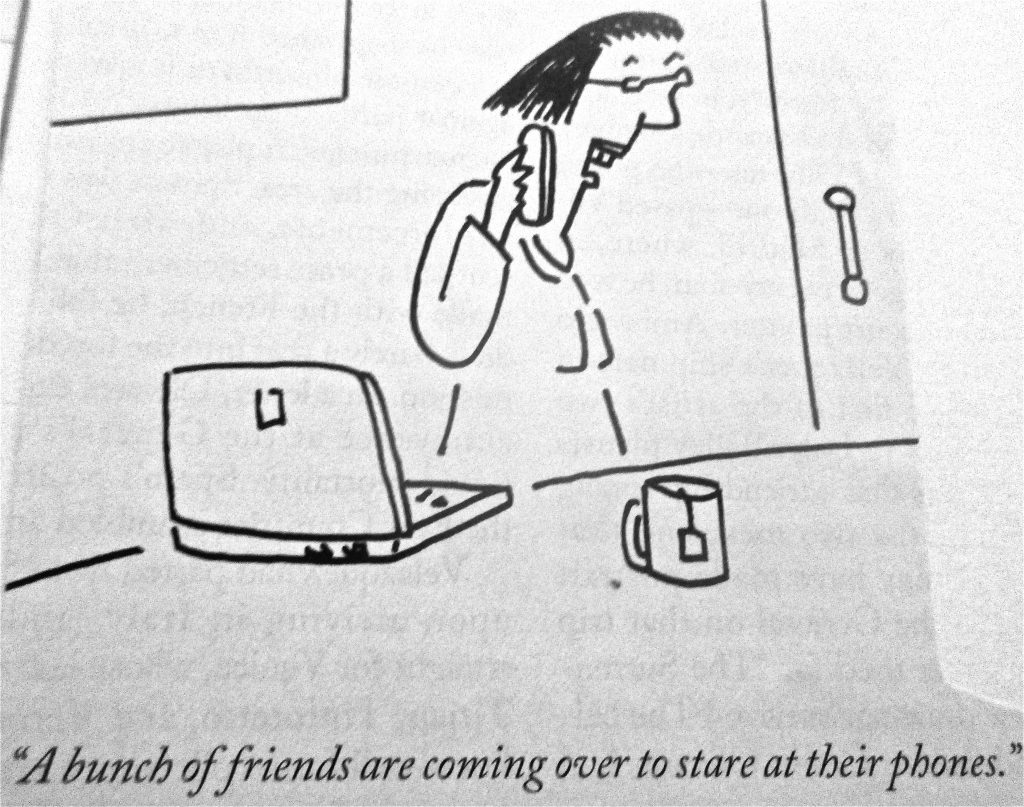 Cartoon A Bunch Of Friend And Coming Over To Stare At Their Phones