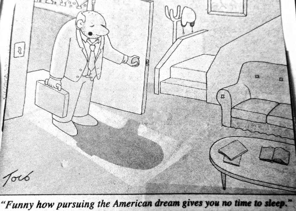 Cartoon Funny How Pursning The American Dream Gives You We Time To Sleep