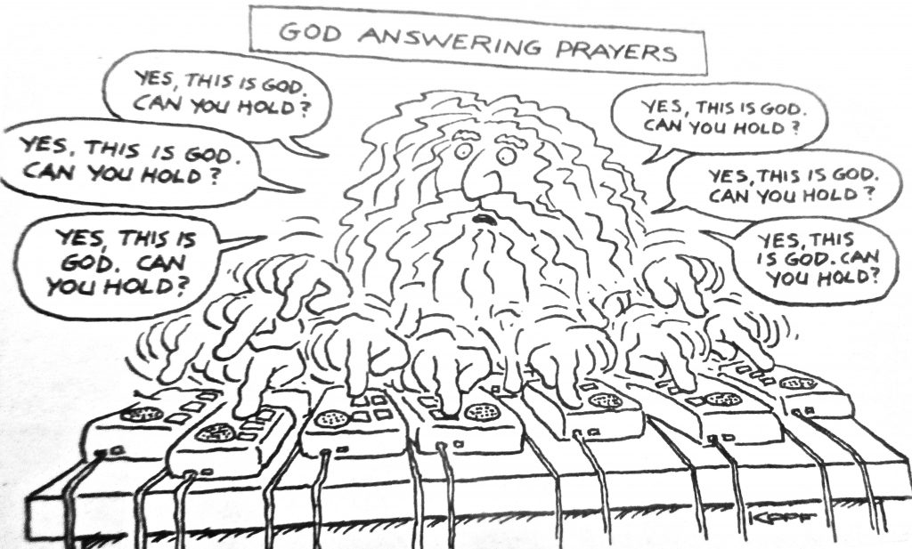 Cartoon God Answering Prayers