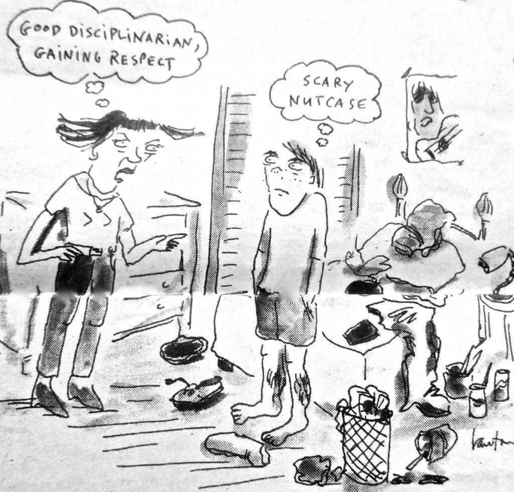 Cartoon Good Disciplinarian Gainins Respect Scray Nutcase
