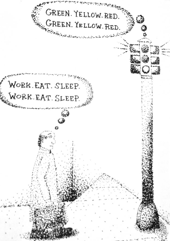 Cartoon Green Yellow Red Work Eat Sleep