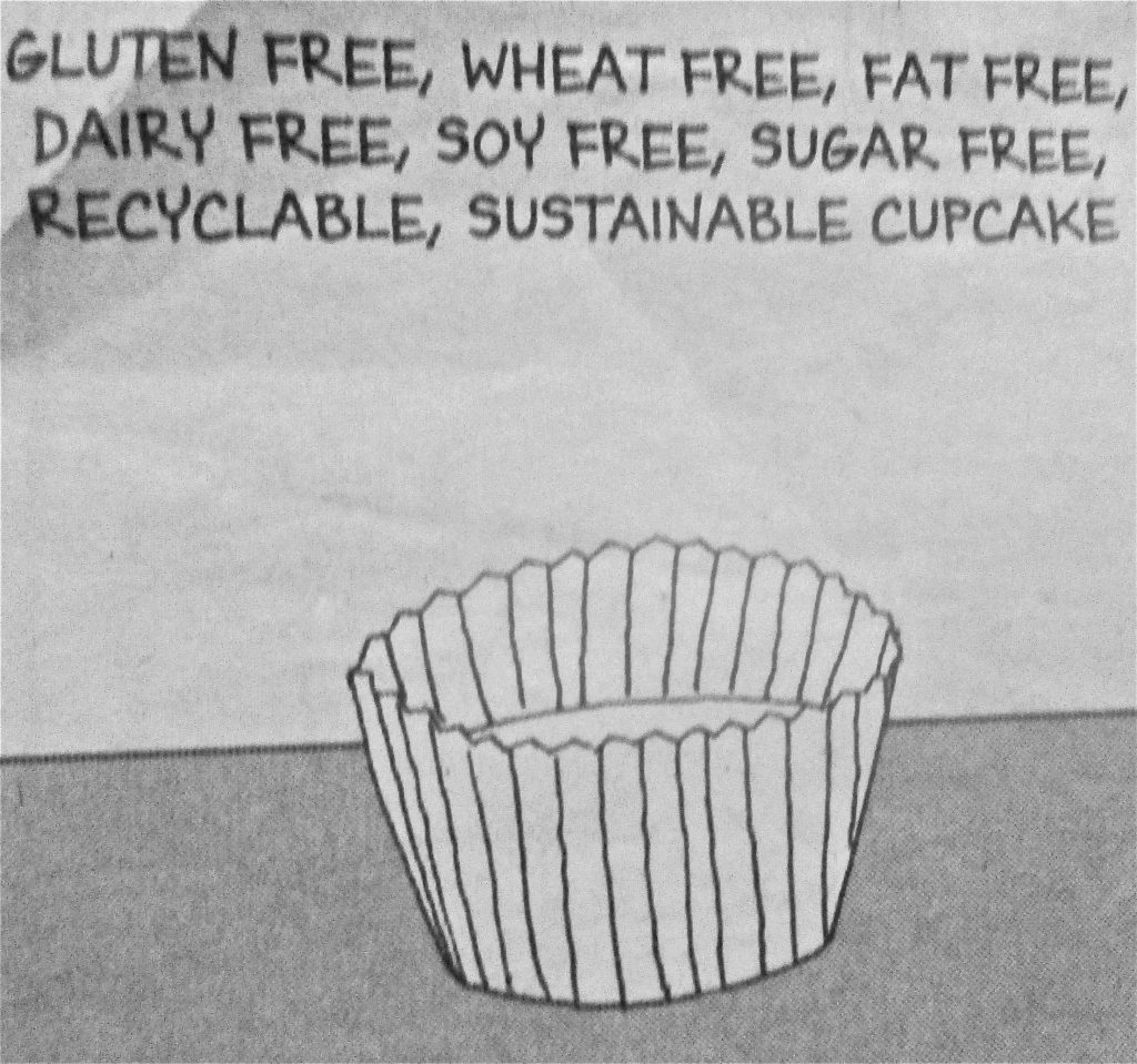 Cartoon Gulten Free Wheat Free Fat Free Dairy Free Soy Free Sugar Free Recyclable Sustainable Cup cake