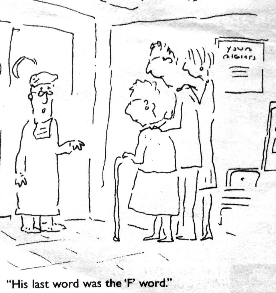 Cartoon His Last Word Was the F Word