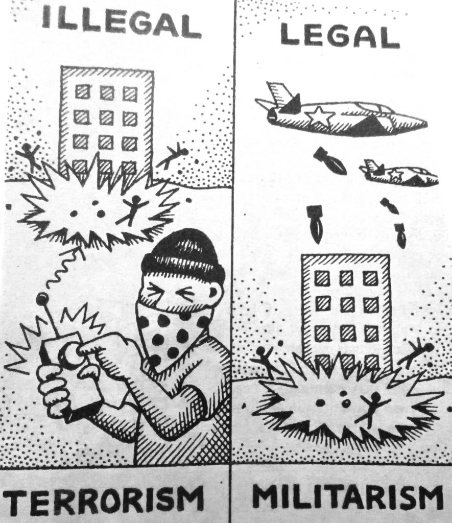 Cartoon Illegal Legal Militarism