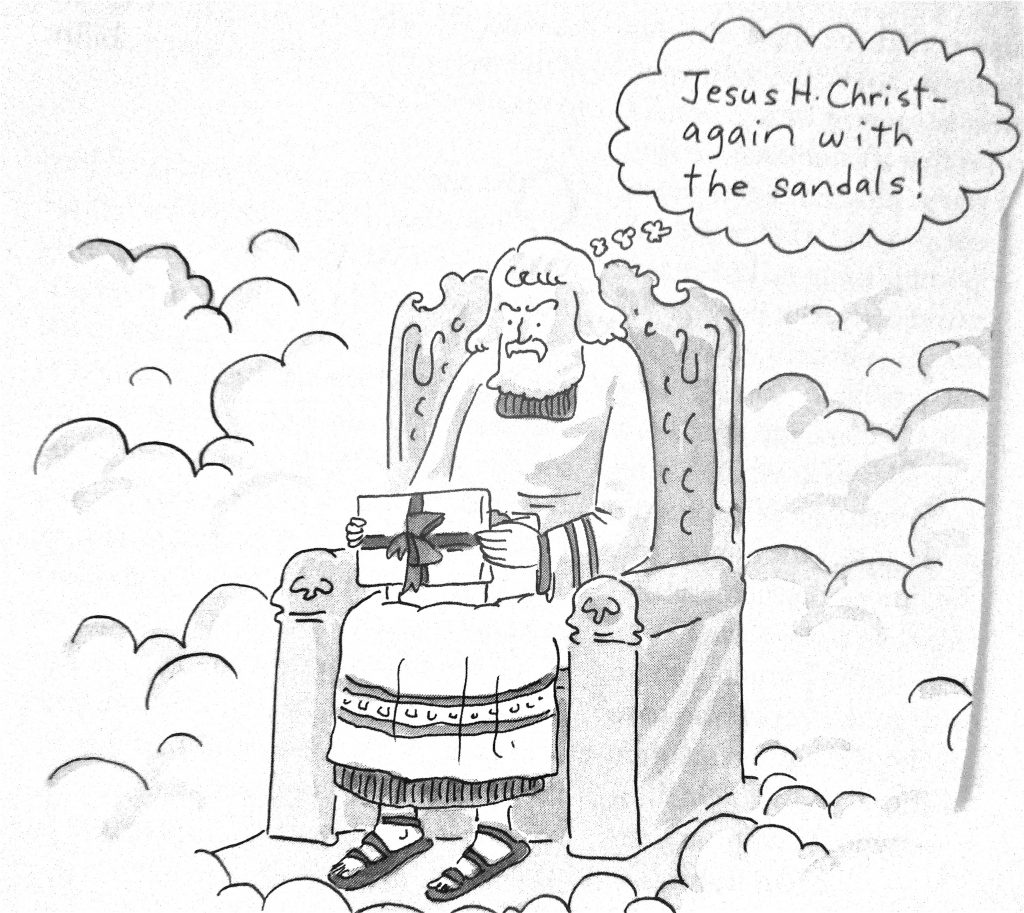 Cartoon Jesus H Christ Again With The Sandals