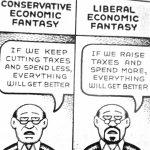 Cartoon – Liberal vs. Conservative Economic Fantasy