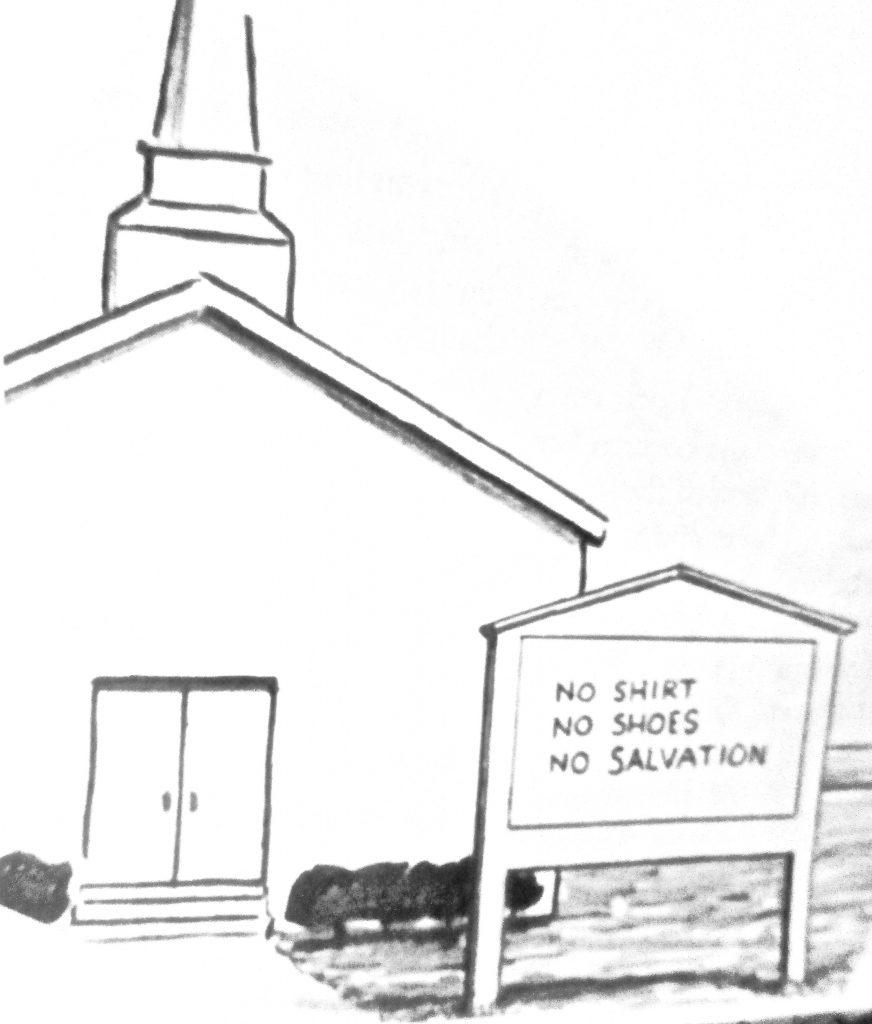Cartoon No Shirt No Shoes No Salvation