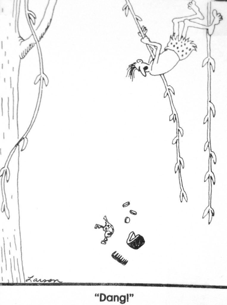 Cartoon Tarzan rethinks his no pocket loin cloth
