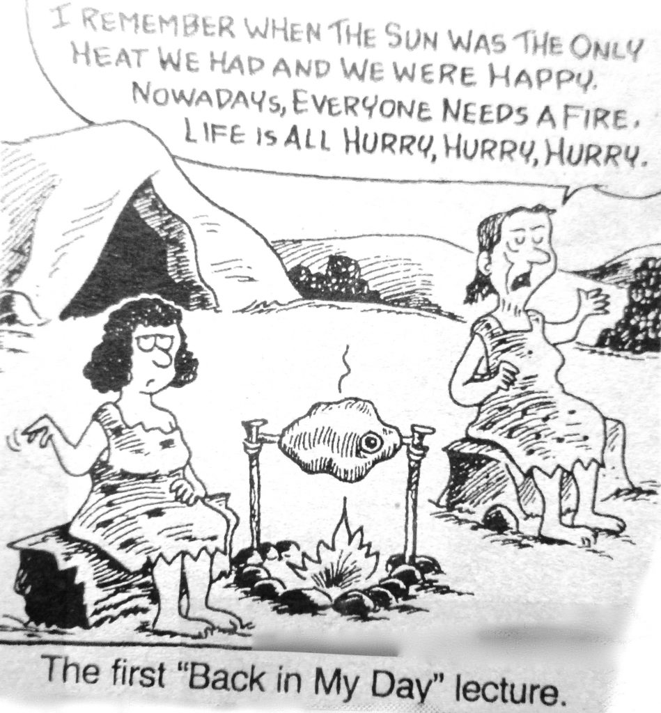 Cartoon The First Back In My Day Lecture