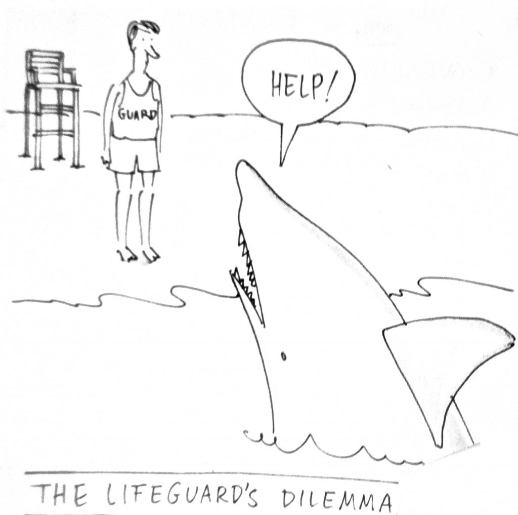 Cartoon The Life Guards Dilemma