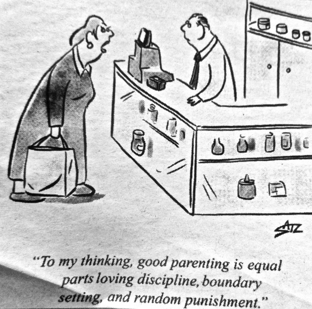 Cartoon To My Thinking Good Parenting Is Equal Parts Loving Discipline Boundary Setting And Random Punishment