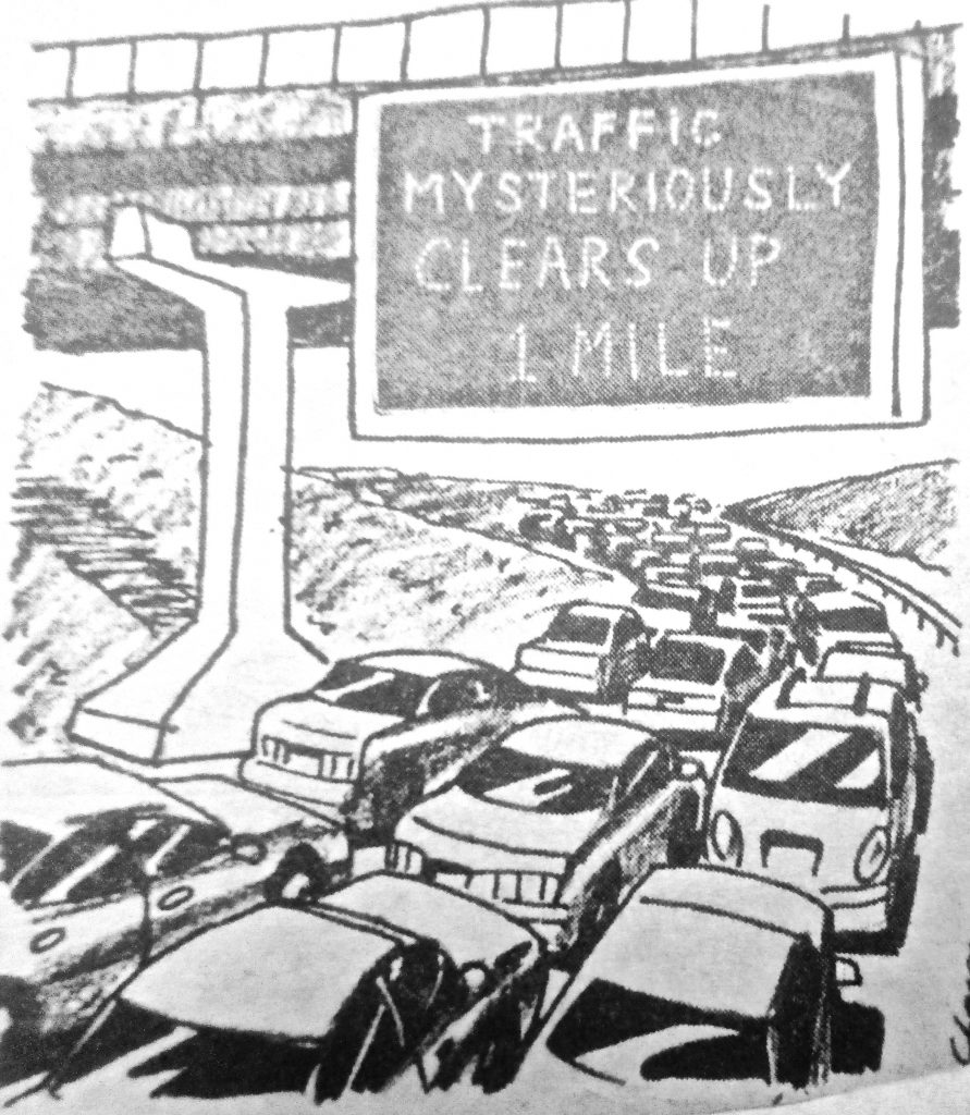 Cartoon Traffic Mysteriously Clearsup I Mile