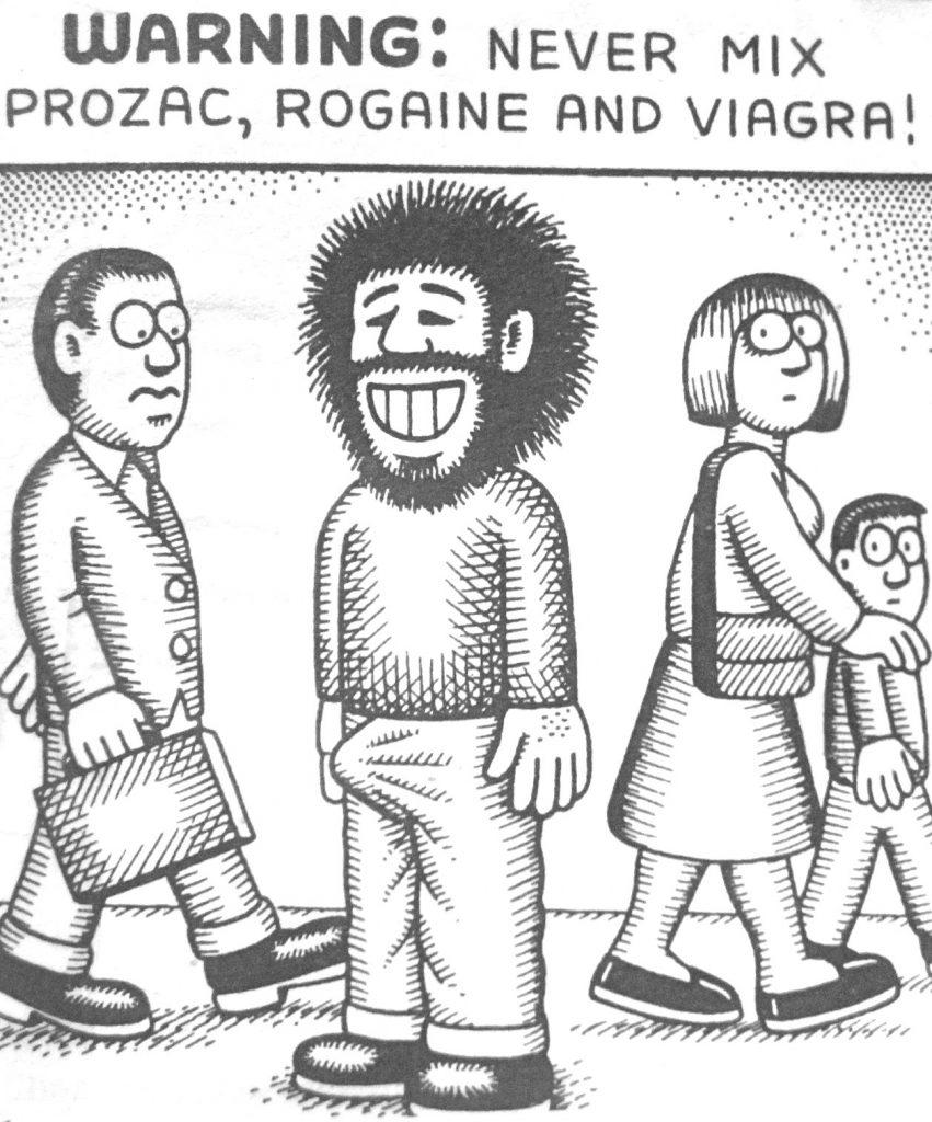 Cartoon Warning Never Mix Prozac Rogaine and Viagra