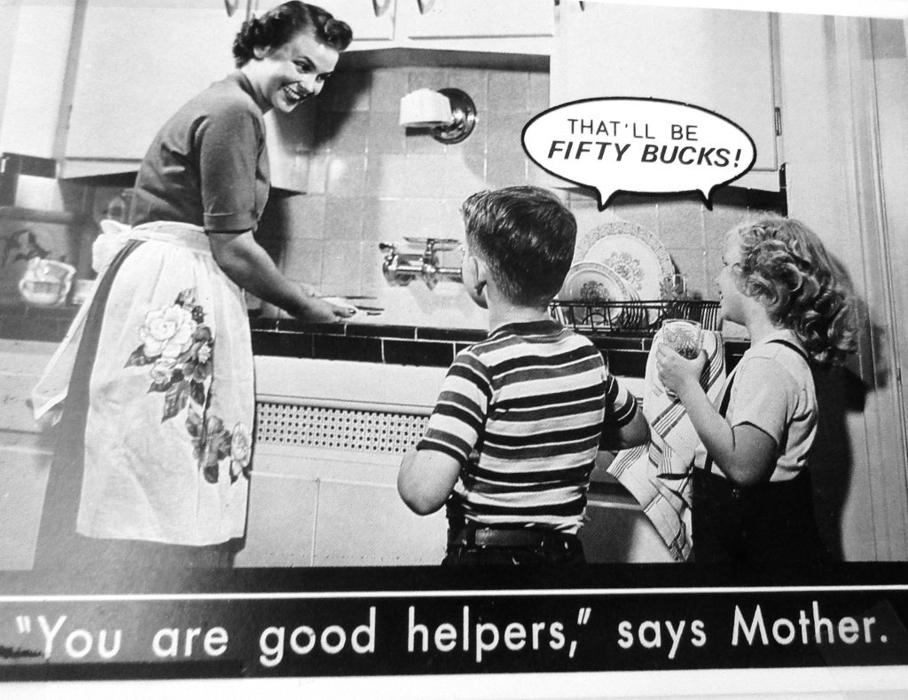 Cartoon You Are Good Helpers Says Mother