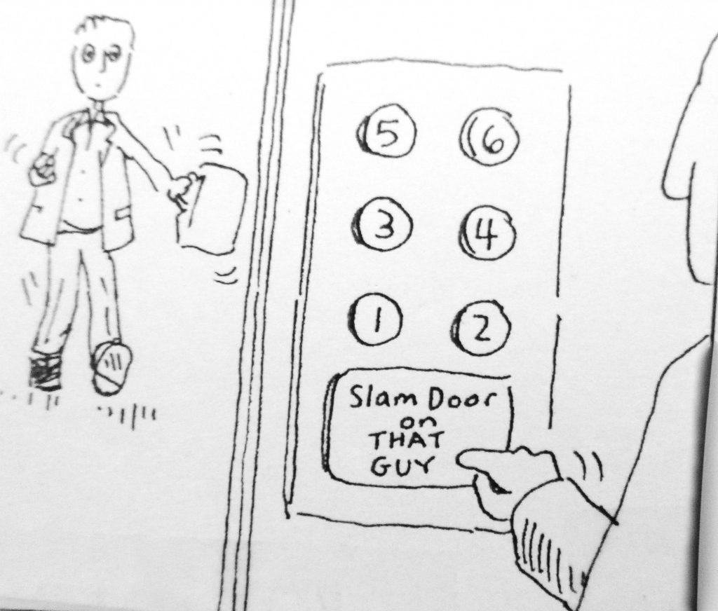 Cartoon slam doer on that guy