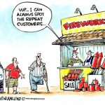 Cartoon – Fireworks Booth