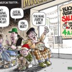 Cartoon – Black Friday Shopping – First In Line