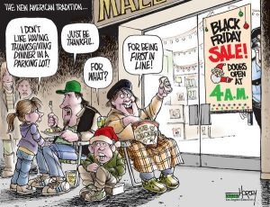 Cartoon - Black Friday Shopping - First In Line
